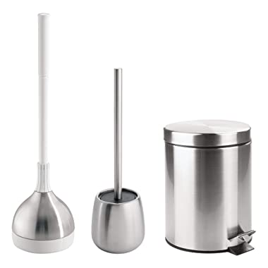 mDesign Bathroom Accessory Set, Plunger with Holder, Bowl Brush with Holder, Step Trash Can - Set of 3, Brushed Stainless Steel