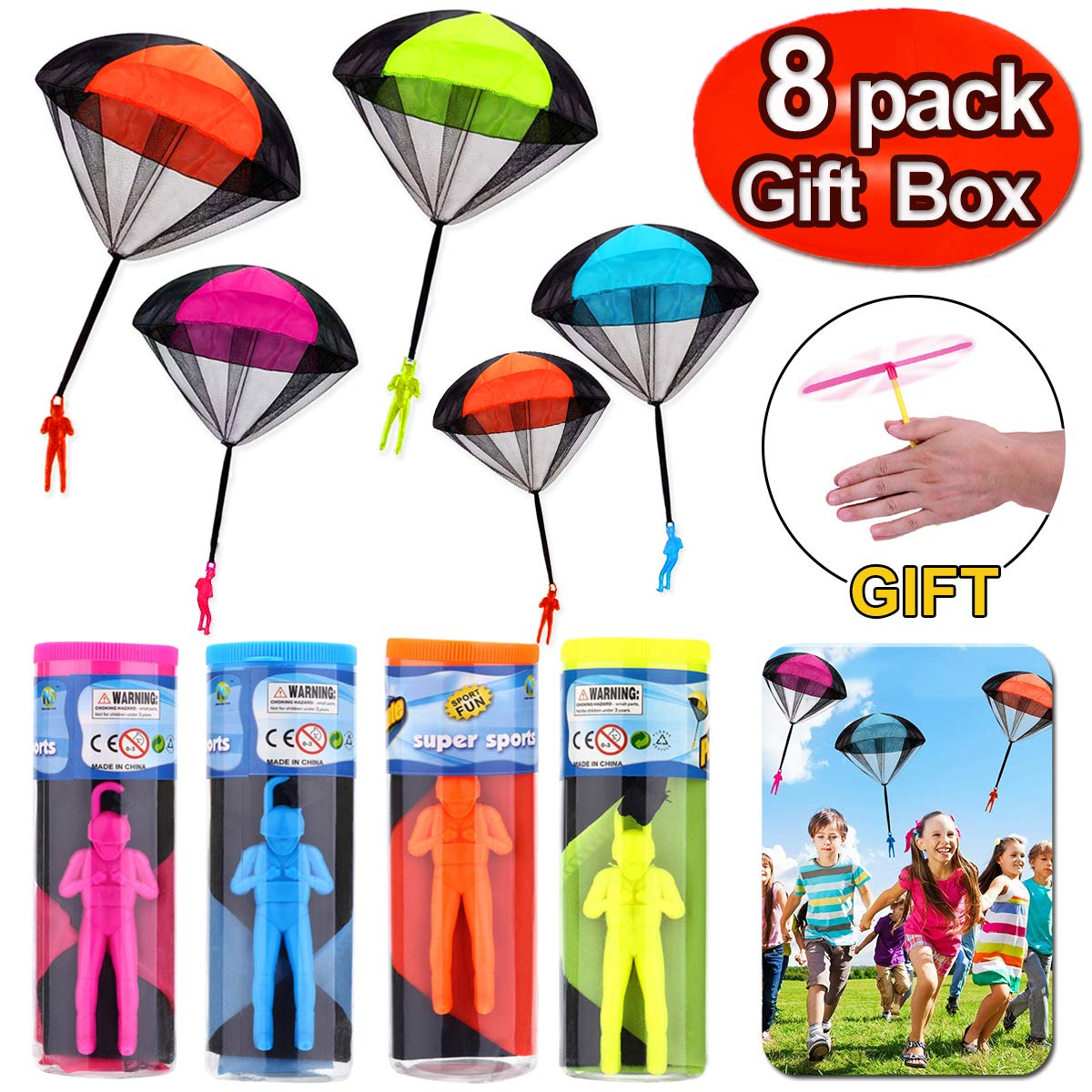 8 Pack Parachute Toys with Rocket Launcher Gift Box - Tangle Free Hand Throwing Toy Novelty Outdoor Children Parachute Flying Toys Skydiver Men Party Favor Supplies for Kids Halloween Holiday Gift by iGeeKid
