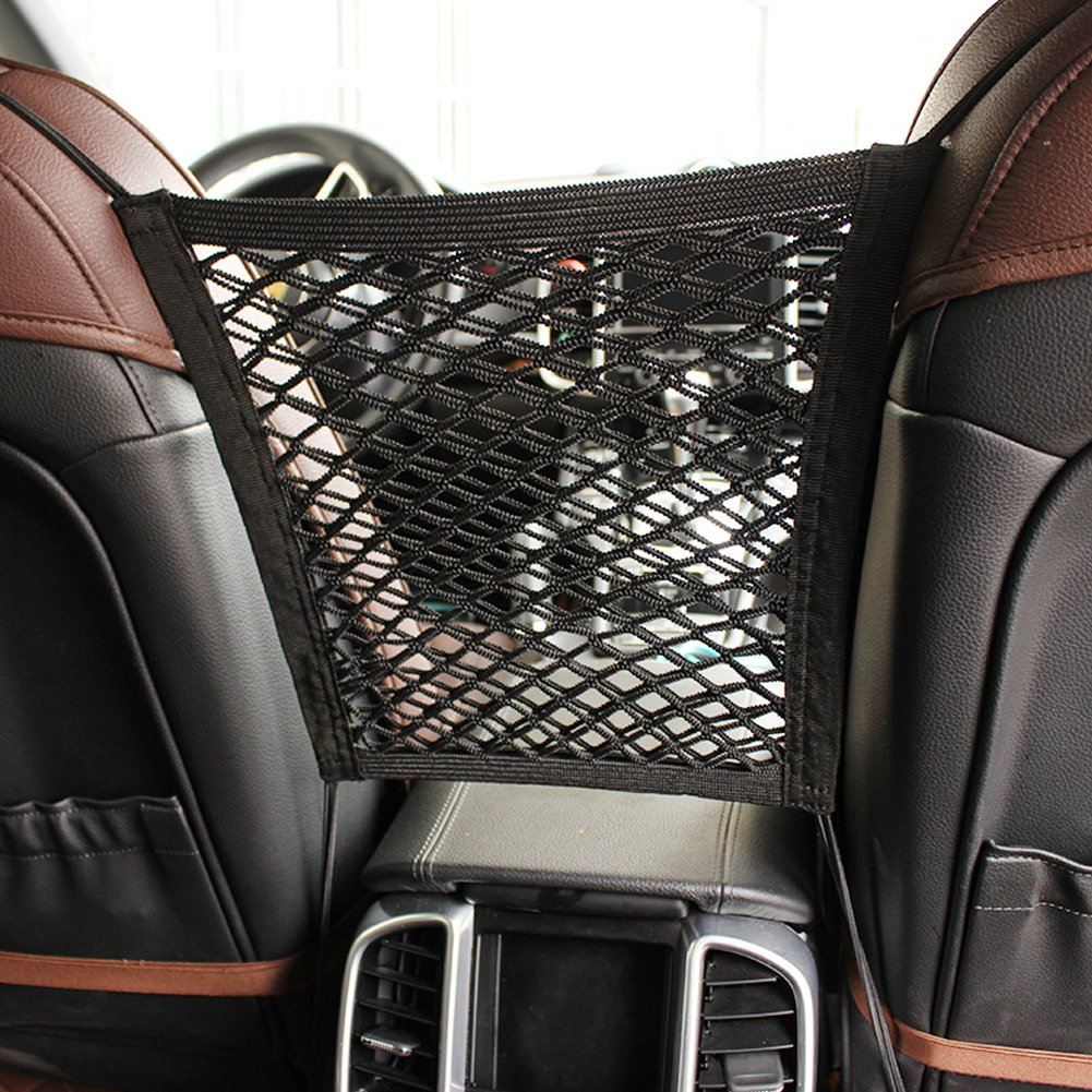 MOTYYA Car Dog Barrier 2-Layer Auto Seat Net Organizer,Universal Stretchy Storage Fine Mesh Net Disturb Stopper With Hooks suv vehicle back seat divider from Children and Pets