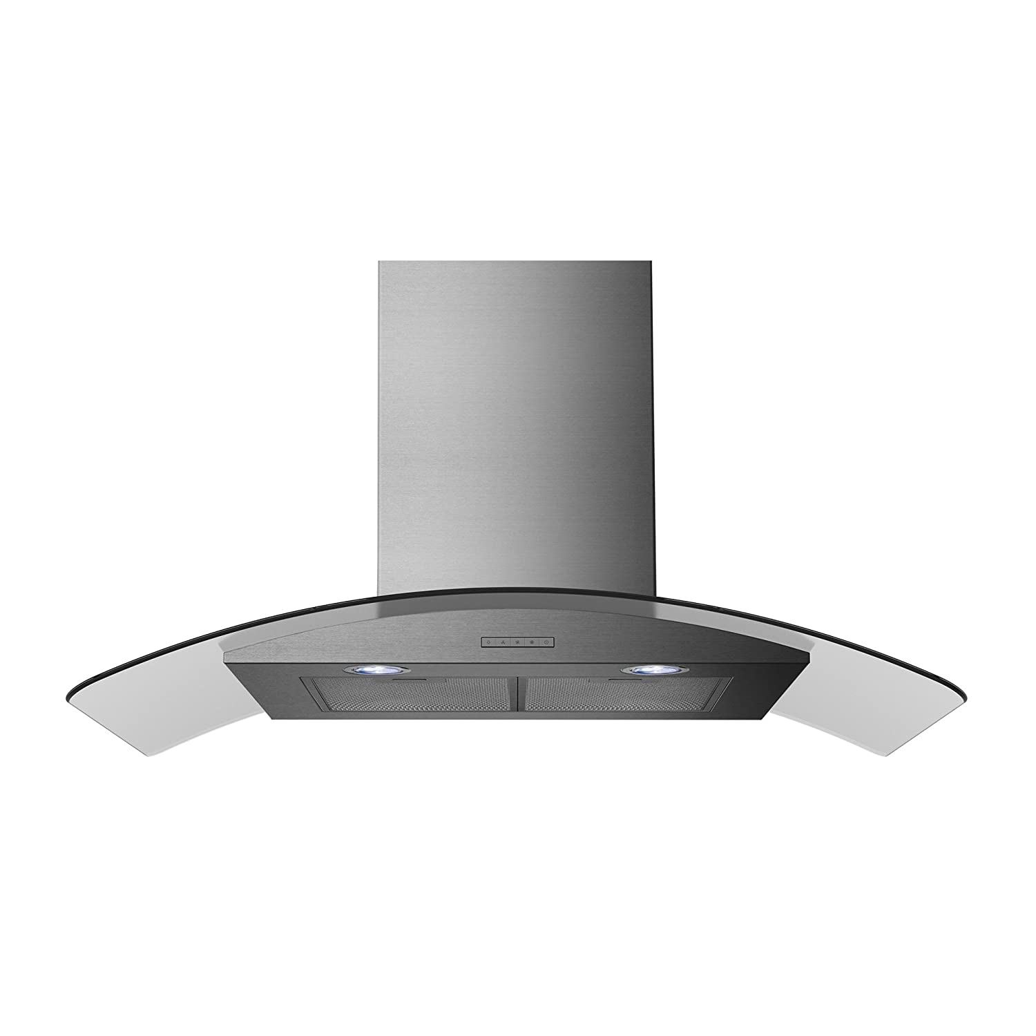 Statesman CGH90GS Curved Glass Chimney Cooker Hood, 90 cm, Stainless Steel [Energy Class D]