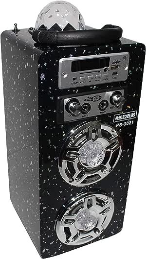 Portable bluetooth speaker,Microphone,Disco light, Black