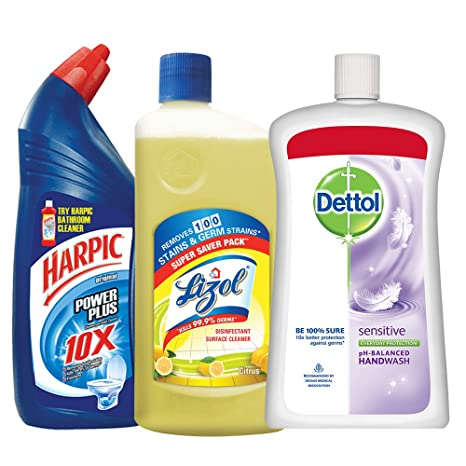 Harpic Household Cleaning Kit (Harpic - 1 L (Original), Lizol - 975 ml (Citrus), Dettol Hand Wash - 900 ml (Sensitive))