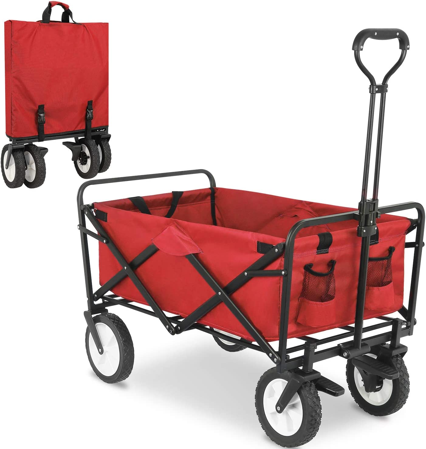 FIXKIT Collapsible Folding Outdoor Utility Wagon, Heavy Duty Garden Cart with Wheel Brakes and 2 Cup Holders Blue (Red)