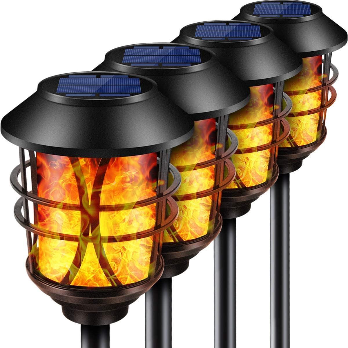 LETMY Solar Lights Outdoor Metal Flickering Flame Solar Garden Lights Waterproof Heavy Duty Solar Torch Lights Dusk to Dawn Auto On//Off for Garden Patio Yard