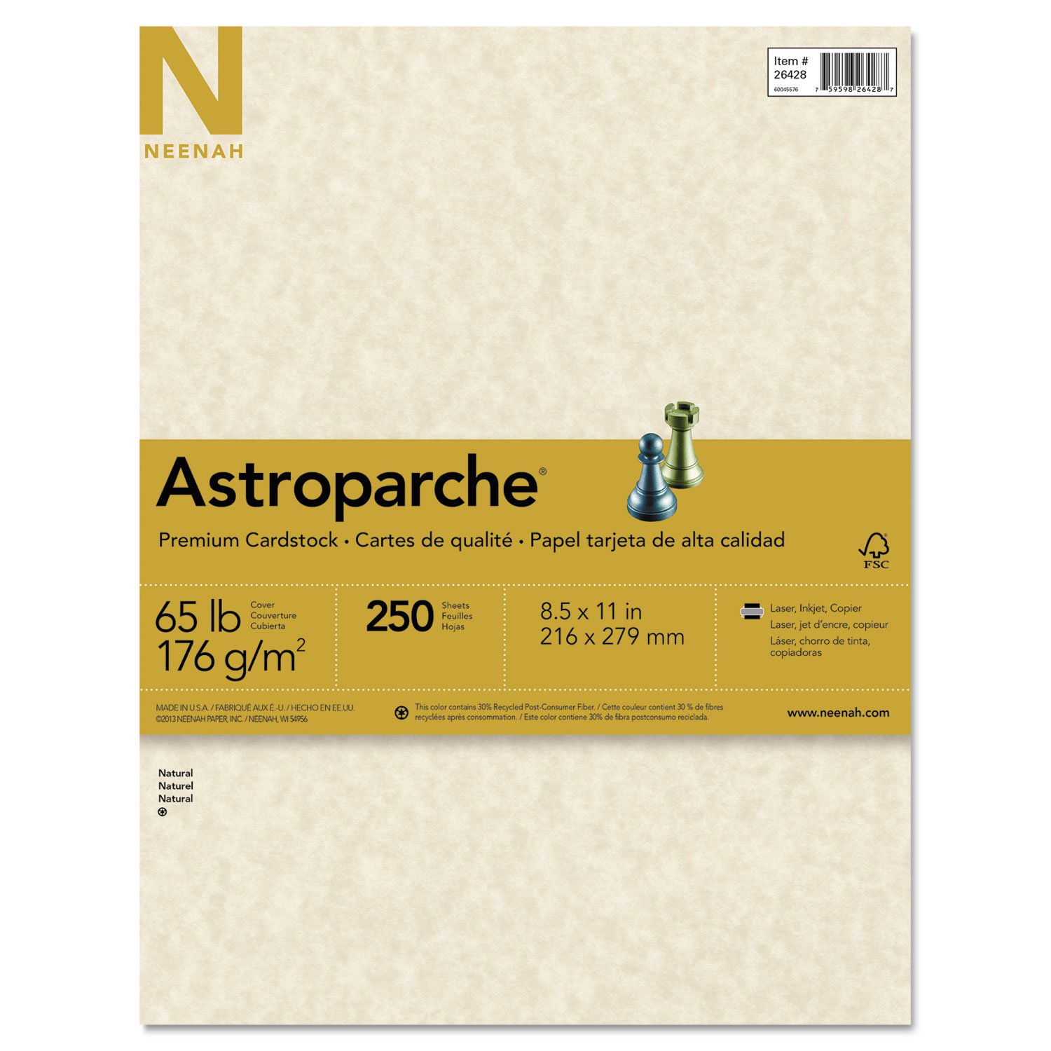 Neenah Paper 26428 Astroparche Specialty Card Stock, 65lb, 8 1/2 x 11, Natural, 250 Sheets by Wausau