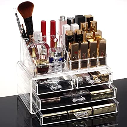 HQdeal Caja de Joyería Organizador de Maquillaje Caja de Cosméticos Grande Acrílico con Cajones