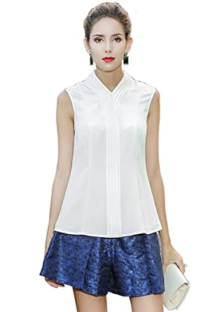 ddfdf1e3587 VOA Summer Sleeveless Brief White Solid Slim Business Blouse Chinese ...