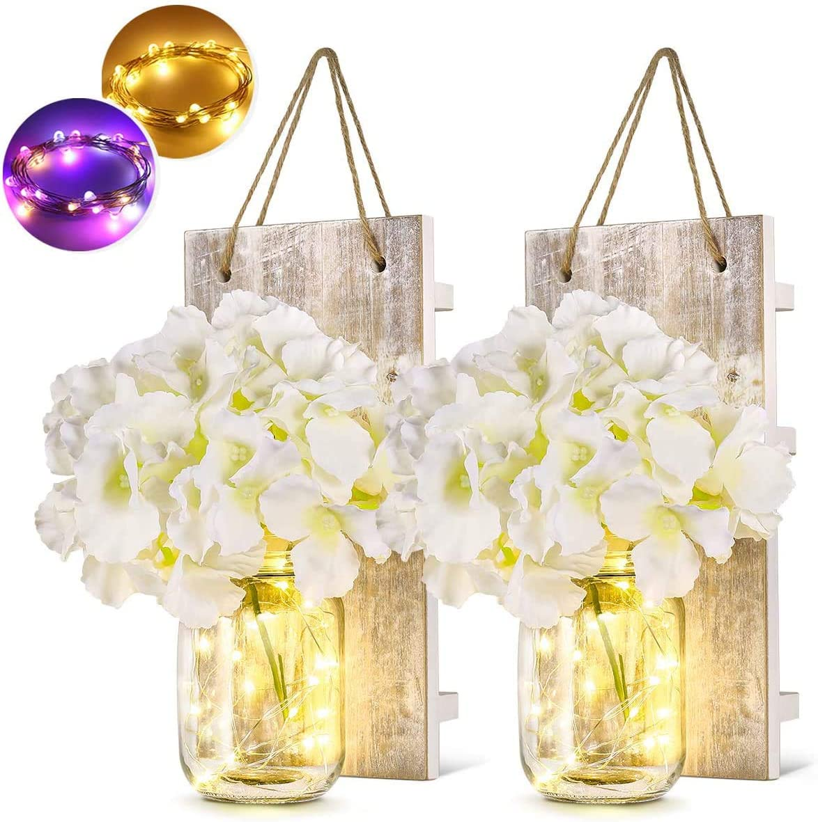 Wall Sconces Mason Jar Hanging Lamp Wall Decor Home Decoration With LED Fairy Lights Flowers Iron Hooks (2 Pack)