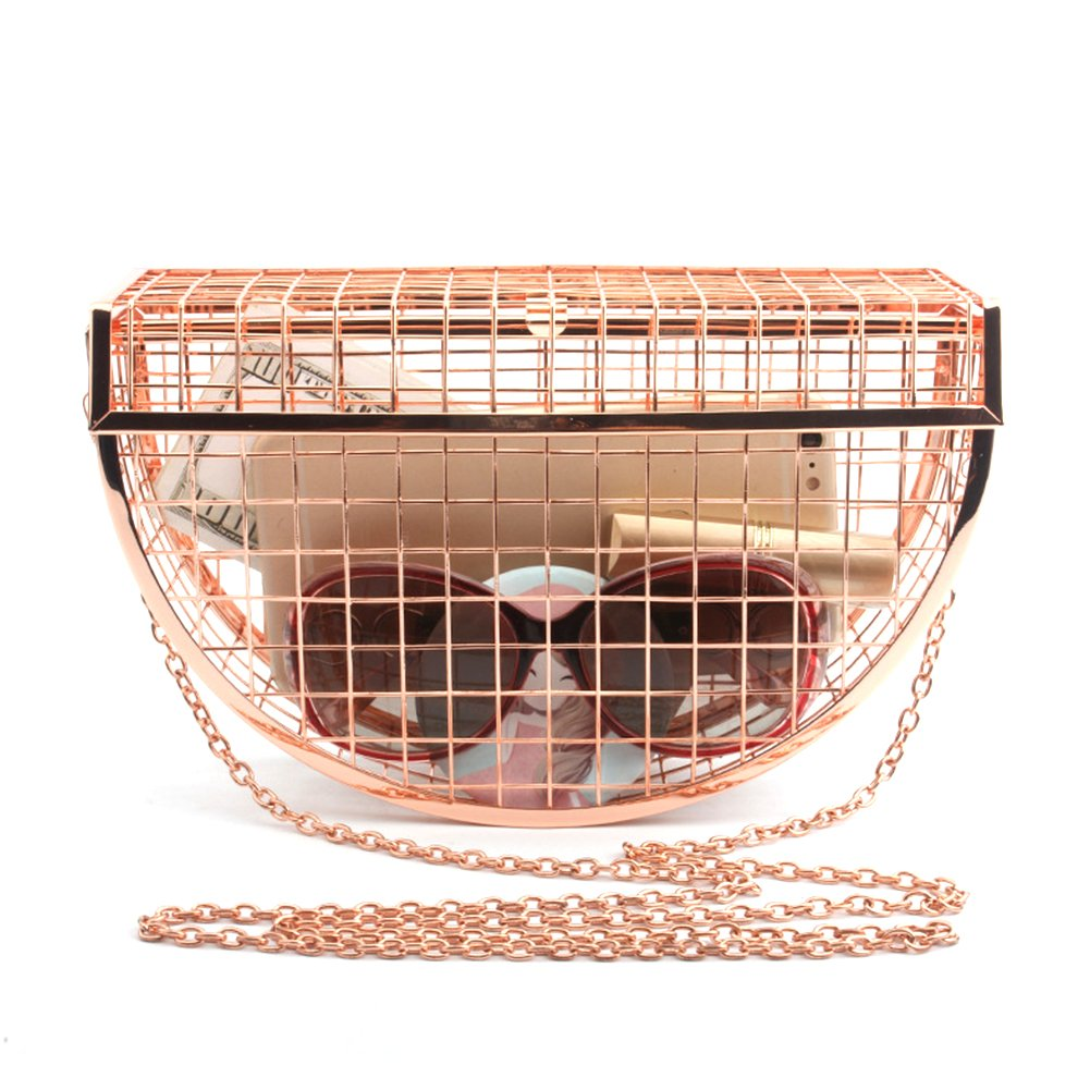 Yunhigh Women Clutch Bag with Chain Strap Metal Chic Crossbody Handbag Unique Evening Bag Shoulder Sling Bag - Rose Gold