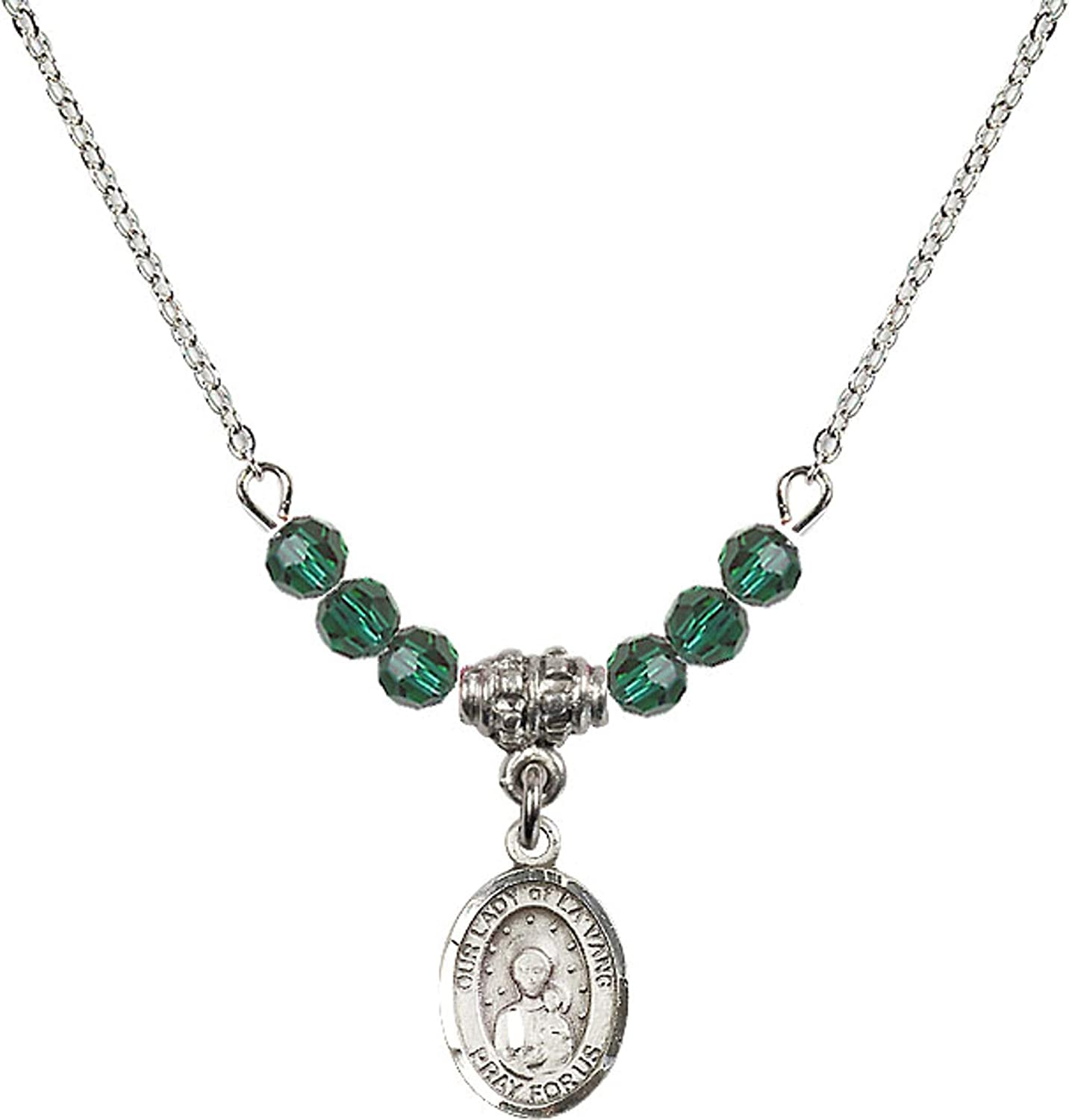 Bonyak Jewelry 18 Inch Rhodium Plated Necklace w// 4mm Green May Birth Month Stone Beads and Our Lady of la Vang Charm