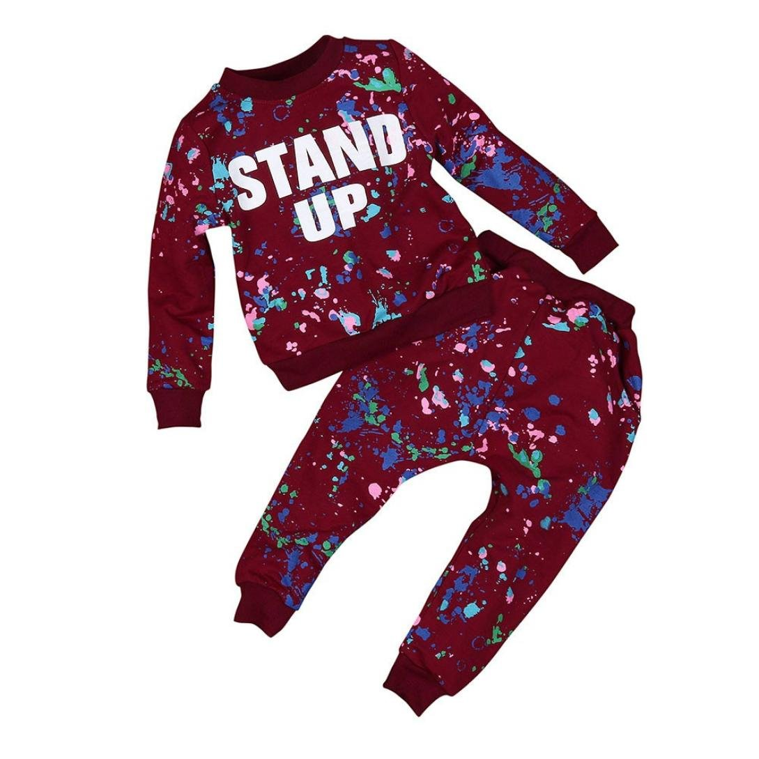 Clode® For 2-7 Years Old Girls Boys, Cute Kid Girls Boy Color Paint Letters Long Sleeve Sweater and Long Pant 2 Pieces Clothes Outfit Sports Suit Clode-TS-0062