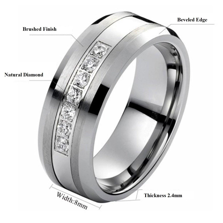 Tungsten Carbide Diamond Mens Wedding Band .20CTW (H-I I2) by AX Jewelry (Image #5)