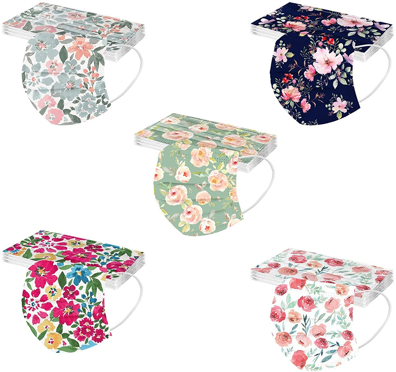 CHENSEN Adults Disposable Face Mask 50Pack 3Ply Floral Cute Protective Breathable Earloop Holiday Masks For Women Men
