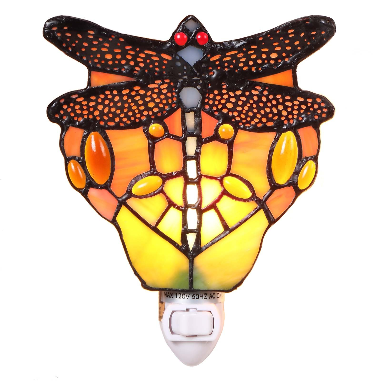 Bieye L11401 5-inch Dragonfly Tiffany Style Stained Glass Night Light, Wall Lamp