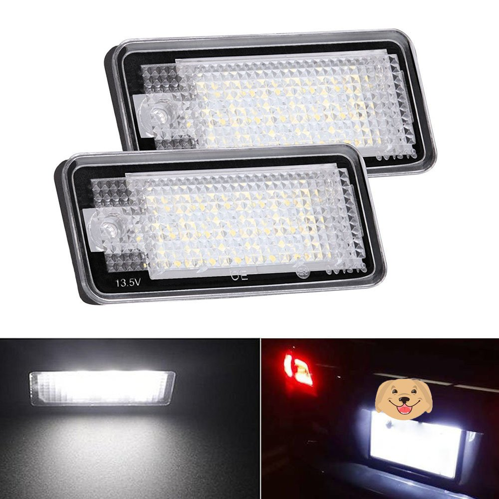 2pcs Car License Plate Light for Honda Crosstour Odyssey Stream Fit/Jazz Insight CR-V HR-V FR-V/Edix Error Free 3W 18 Led White Rear License Tag Lights Rear Number Plate Lamp Direct Replacement