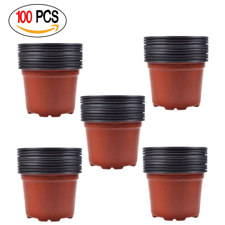 Coolrunner 3.5 Inch Plastic Flower Seedlings Nursery Pot/pots (100) by Coolrunner