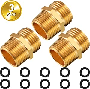 3 Pieces Garden Connector 3/4 Inch GHT Male x 3/4 Inch NPT Male Hose Connector Double Male Brass Hose Adapter with 10 Pieces 3/4 Inch Gaskets