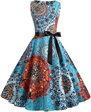 Hotkey Womens Dresses Women Vintage Printing Bodycon Sleeveless Halter Evening Party Prom Swing Dress Casual