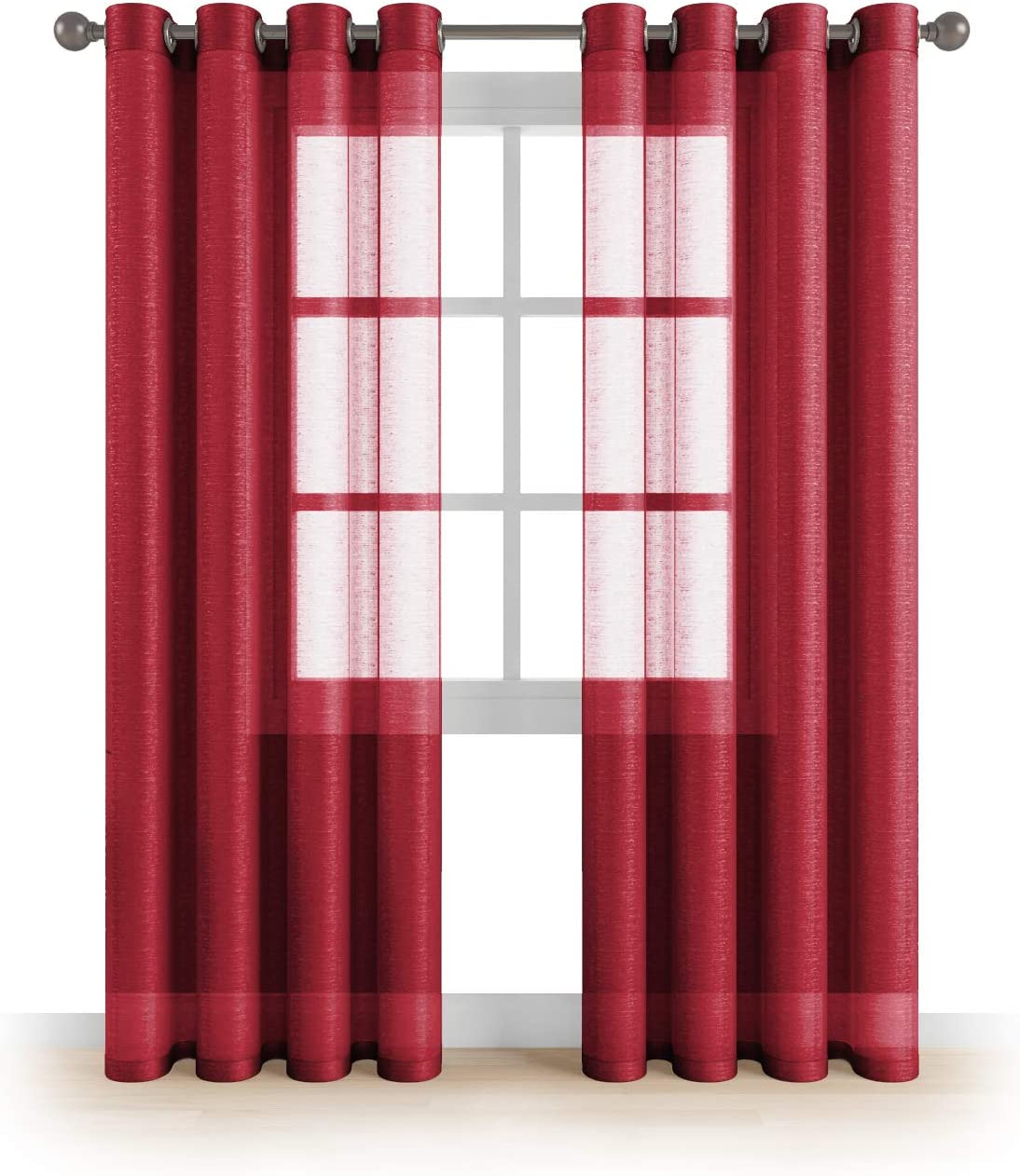 """MEMIAS Window Sheer Elegant Voile Curtains with Grommets for All Rooms Decoration, 2 Panels, Each Panel, 54"""" W x 84"""" L, Merlot"""