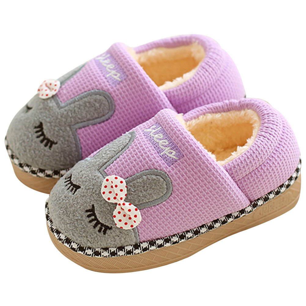 SITAILE Cute Home Shoes, Girls Boys Fur Lined Indoor House Slipper Bunny Warm Winter Home Slippers Cover Heel Purple Size 6.5-7 Toddler by SITAILE