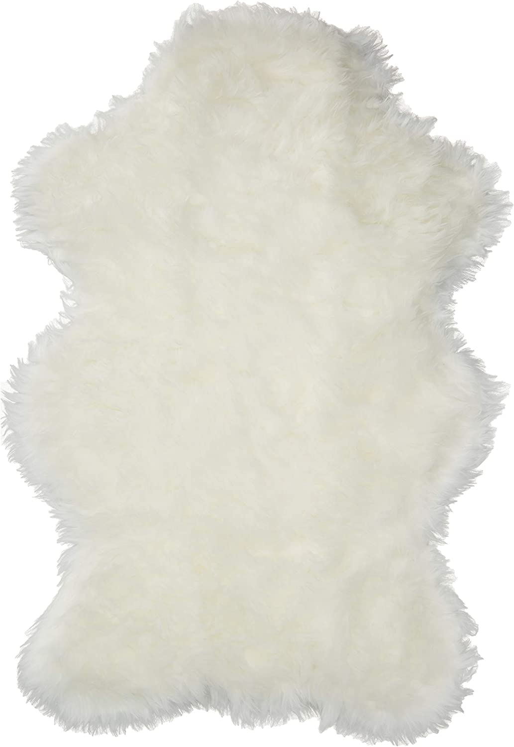 "Walk on Me Classic White Sheepskin/Polar Bear Pelt Shape Rug Faux Fur Rugs - New from France (2x4, 3x5 & 5x7) (2x4 (Actual 28"" x 43""))"