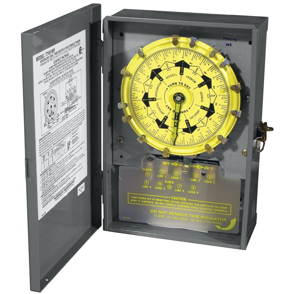 Intermatic T7401BR 4PST 125-Volt 7-Day Mechanical Time Switch with Nema 3 Steel Outdoor Cover