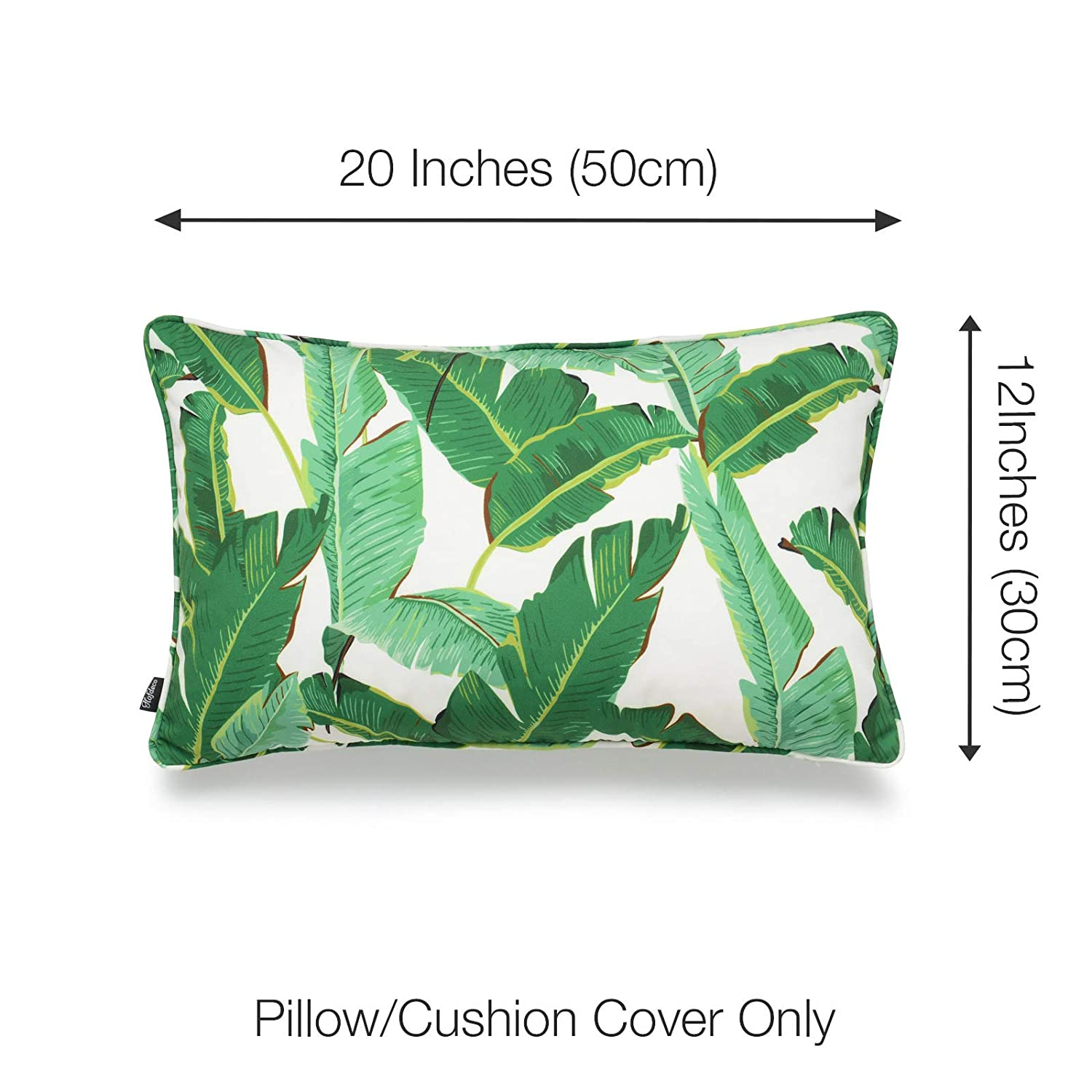 Hofdeco Tropical Indoor Outdoor Indoor Outdoor Pillow Cover ONLY, Water Resistant for Patio Lounge Sofa, Green Banana Leaf, 12 x20 , Set of 2