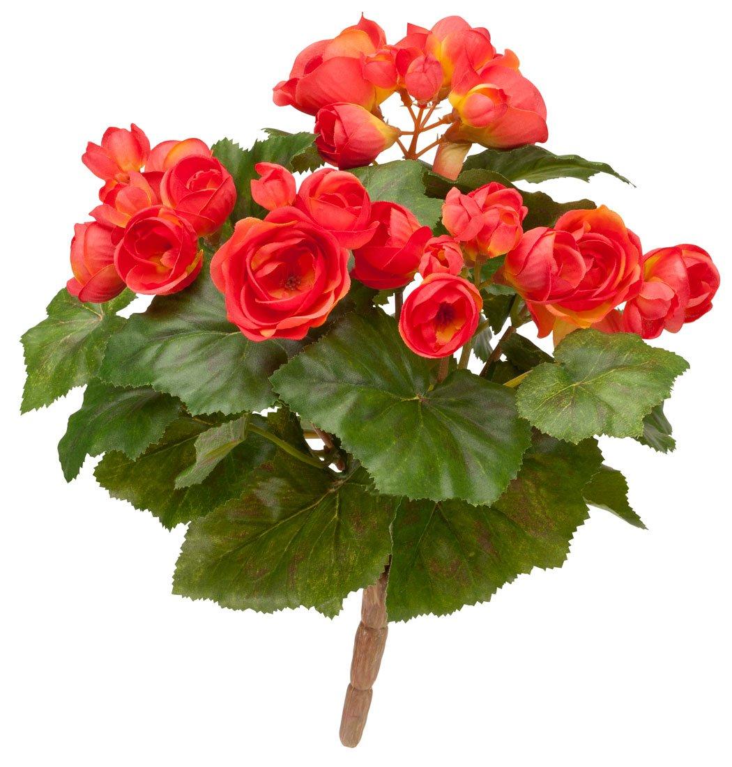 "silk flower arrangements oakridge silk begonia bush – artificial flowers outdoor décor – coral, 10"" long"