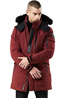 Herren Winter Lange Jacke Warm mit Fell Kragen Kapuze Pelz Fleece Gefüttert  Funktions Kapuzenjacke Mantel Parka 9ca4eeb3b0