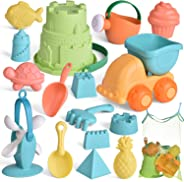 FunLittleToy Kids Beach Sand Toy Set, Beach Bucket, Car, Watering Can, Shovel, Rake and Sand Castle Building Kit, Eco-Friend