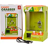 GYMAX Candy Grabber USB/ Batteries Operated Traditional Fairground Arcade Game Toy Gift, Claw Grab Machine with Music Light Function for Kids Children Green W/ Colourful Box