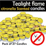 27 Citronella Tealight Candles Wax Mosquito Fly Insect Repeller For Home Outdoor By Tesco