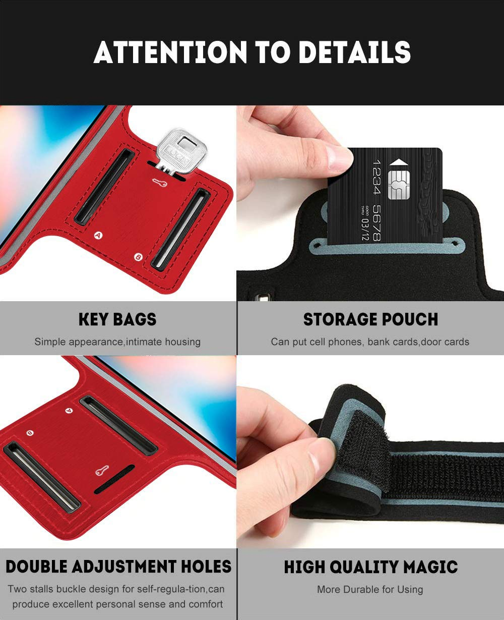 Violeta Brazalete Deportivo Compatible con Xiaomi Redmi Note 8 Pro Running Neopreno Ajustable Velcro antisudor Antideslizante Bolsillo para Auriculares Llaves