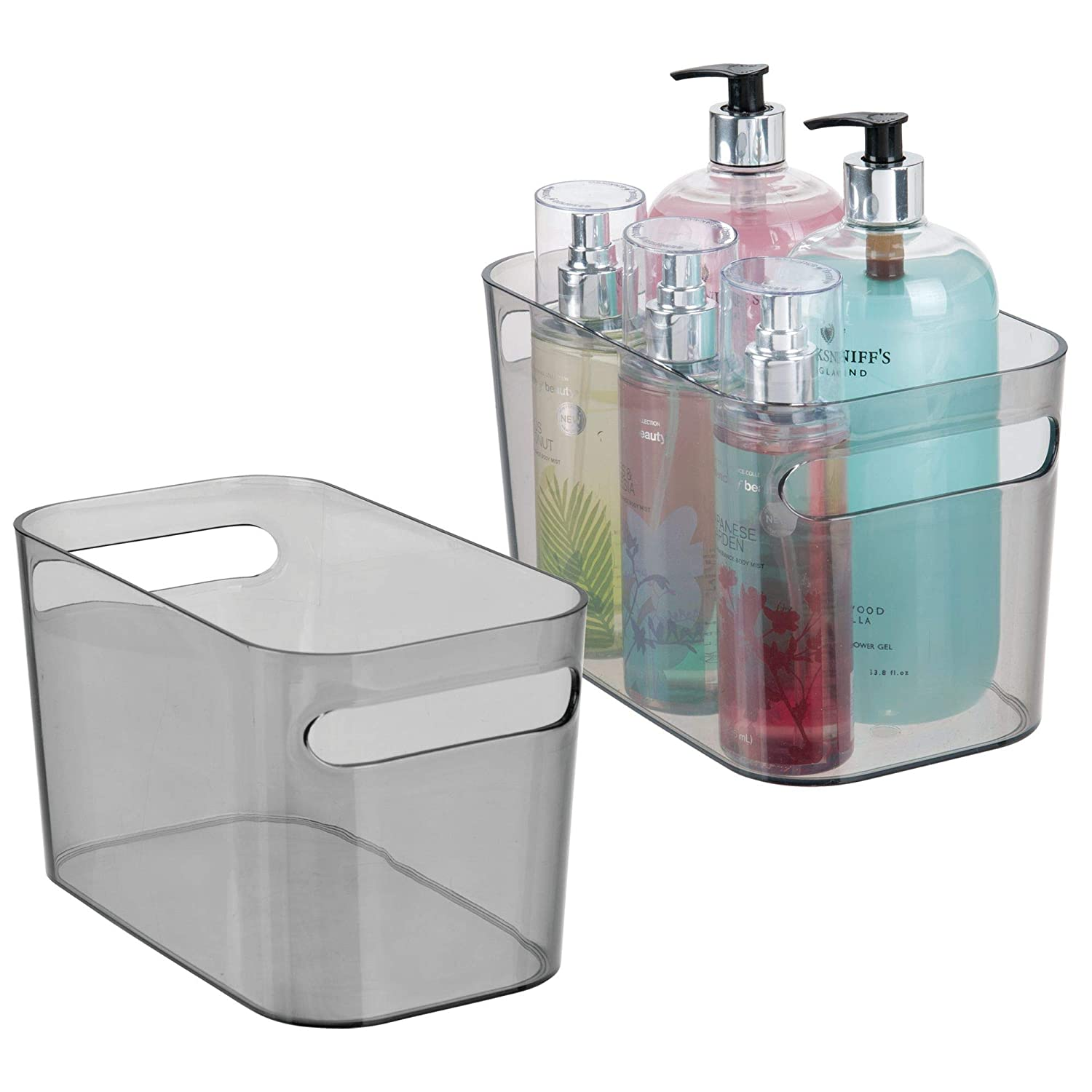 mDesign Bath Storage Bin for Conditioners, Body Wash - Pack of 2, Smoke MetroDecor