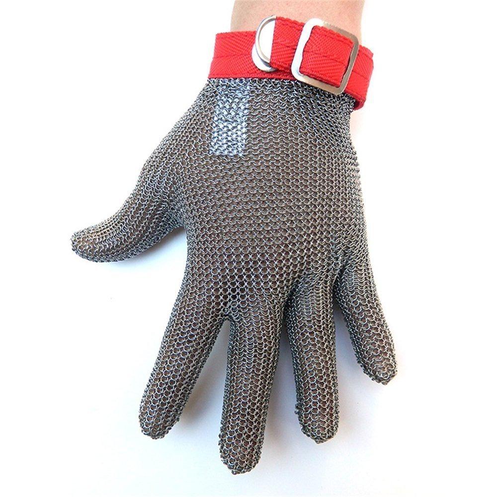 Acier inoxydable Métal Soudure Anti-coupe Glove niveau 5 résistant aux coupures Gants Gant de qualité alimentaire de cuisine Butcher travail Safe Glove (XL) Aandyou