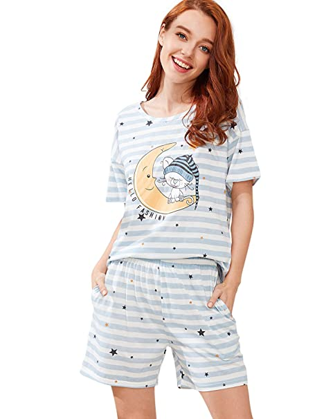 7f0cffb186fa SweatyRocks Women s Cotton Sleepwear Cute Cartoon Print Tee and Shorts  Pajama Set Stirped Pjs Sets Stripe Large at Amazon Women s Clothing store