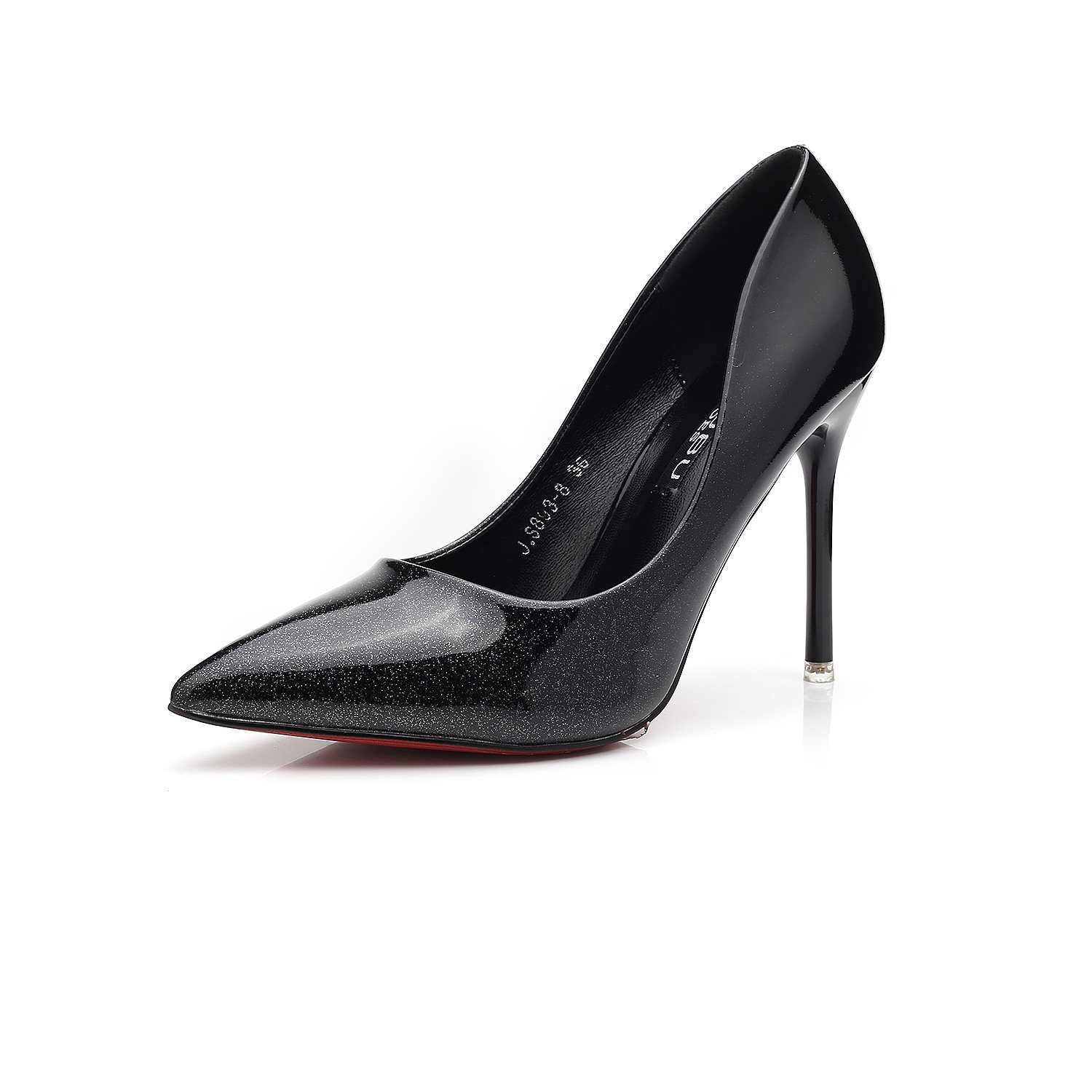 A single gradient shoes single shoes sexy European and American fine with a pointed women's shoes wine red high-heeled shoes, Black,34