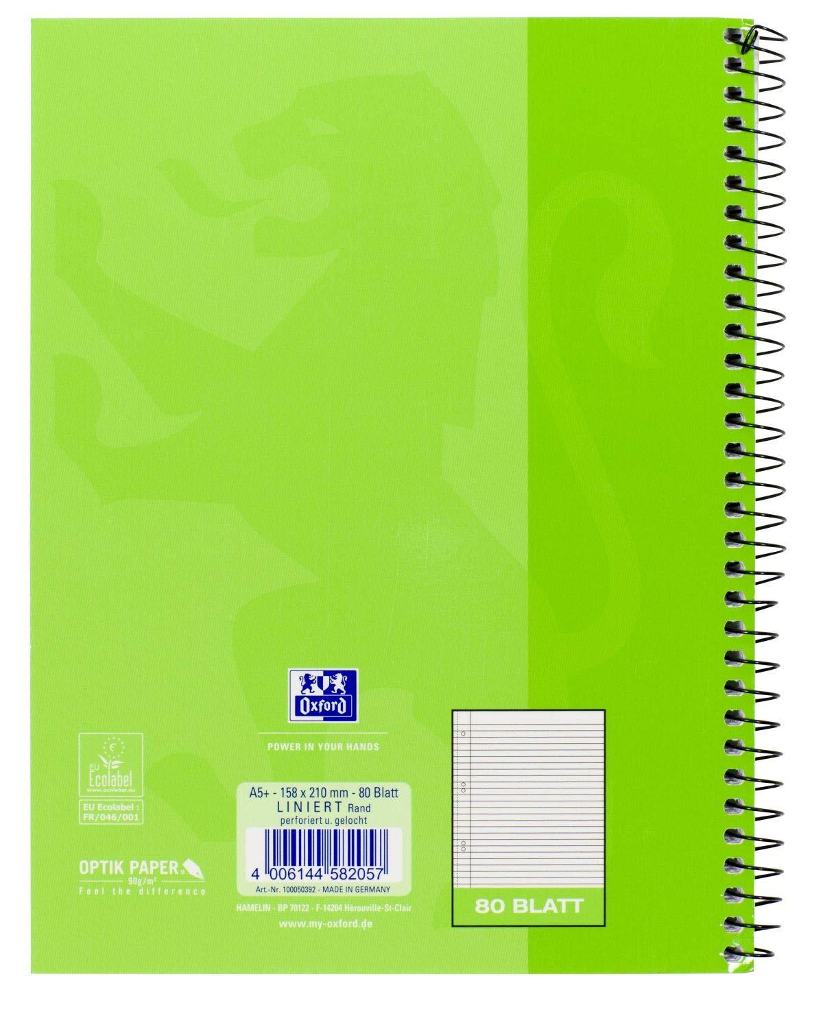 Oxford A4 a quadretti con bordo sx 1 pezzo colori assortiti quaderno scolastico forato 80 pagine Rigatura