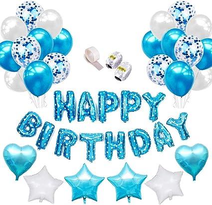 Specool Ballons En Latex Remplis De Confettis Ballon Joyeux Anniversaire Bleu Lettres Bannière Feuille étoile Coeur Avec Rubans Pour Les Fournitures