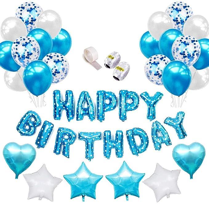 SPECOOL Globos de látex Rellenos de Confeti Azul Feliz cumpleaños Letras de Globos Papel de Aluminio Corazón Estrella con Cintas para la decoración de ...