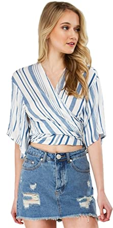 d4708a78cf062c Kimono Sleeve Half Sleeve Deep V Neck Cross Wrap Front Striped Blouse Shirt  Cropped Crop Top Blue White - -  Amazon.co.uk  Clothing