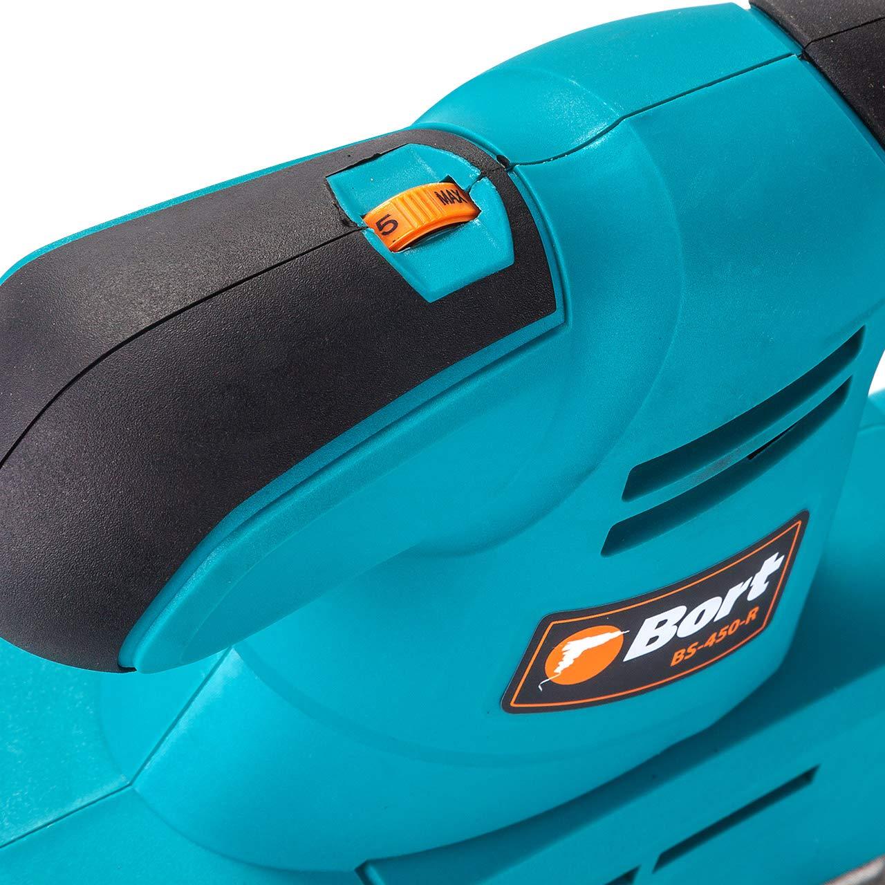 400 W 7000-12000 rpm,incluye papel de lija superficie de lijado 115 x 230 mm Bort BS-450-R bolsa para el polvo y juego de escobillas de carb/ón Lijadora orbital con regulador de velocidad