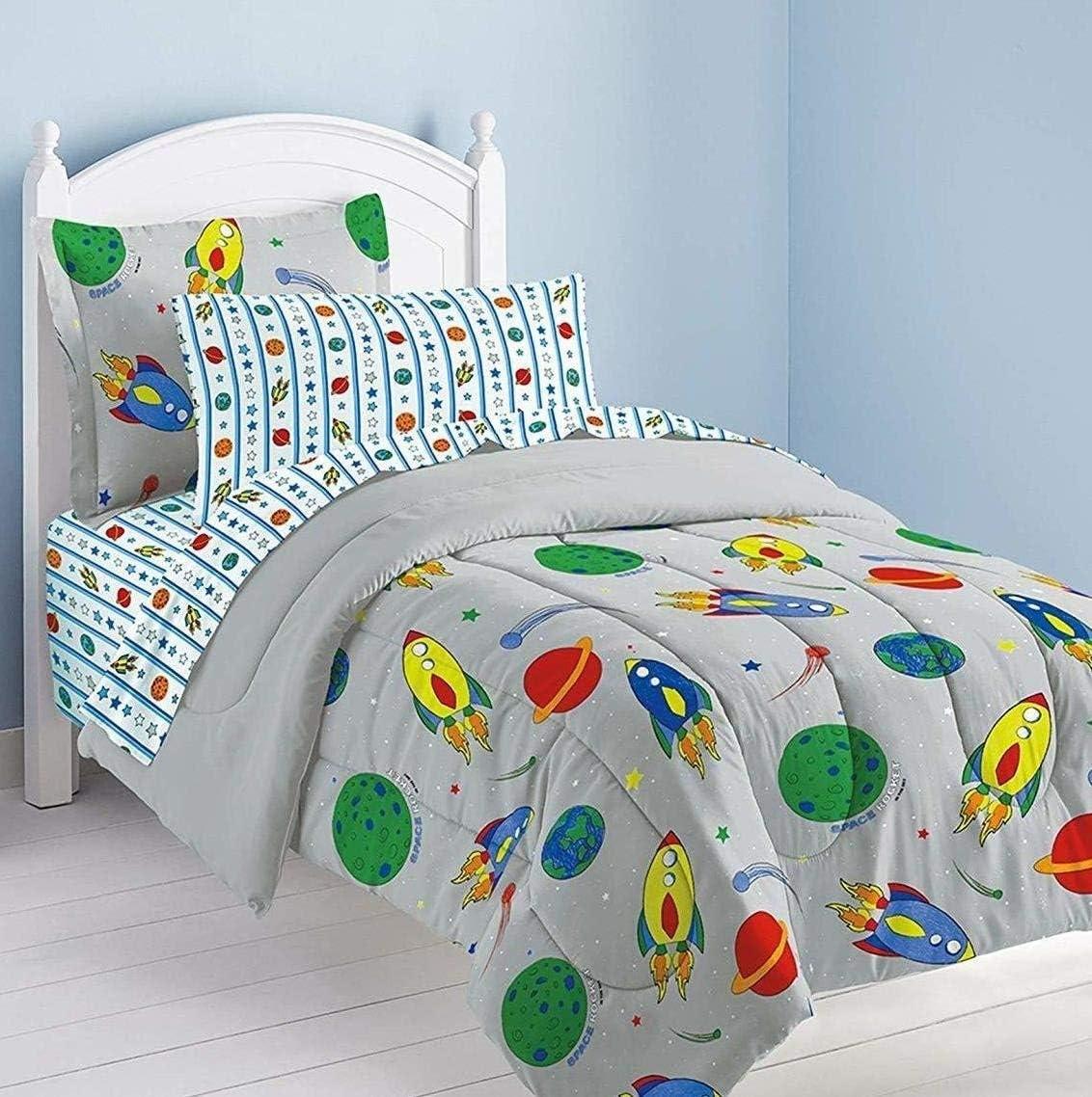 Dream Factory Space Rocket Ultra Soft Microfiber Comforter Set