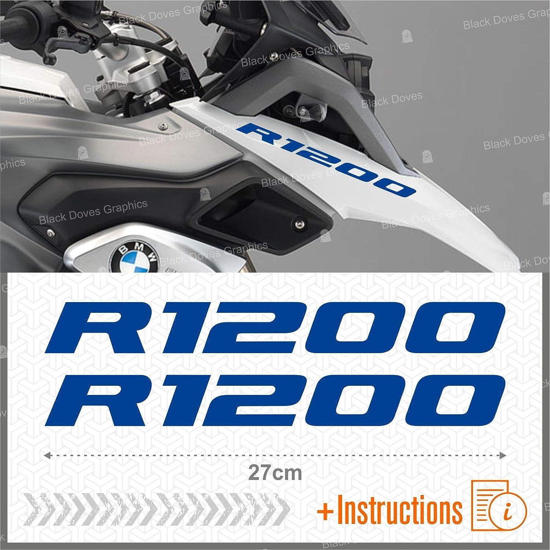 2pcs Adhesivo R1200 Compatible con Motorrad R1200GS Adventure R 1250 GS Moto Plata