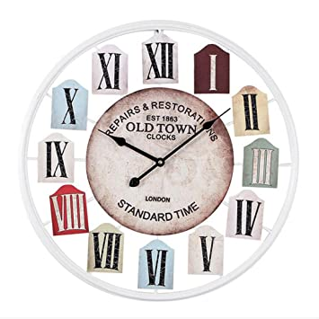 YAHAMA Relojes de Pared Grandes 50 cm Silencioso Metal para Casa, Oficina, Cafetería, etc.: Amazon.es: Hogar