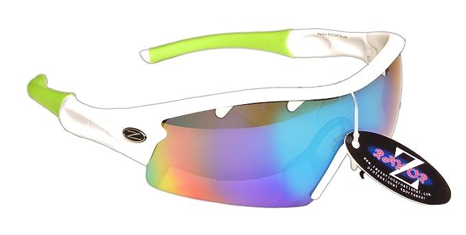 Rayzor Lunettes de soleil professionnelles légères pour sport avec verres bleus aérés en iridium anti-reflets Blanc UV400 tsH5Z2