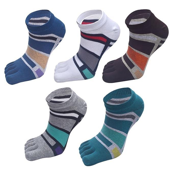 Aieoe - Pack de 5 Calcetines de Dedos para Hombre - Dedos Separados - Calcetines Cortos de Algodón Transpirable para Deportes: Amazon.es: Ropa y accesorios