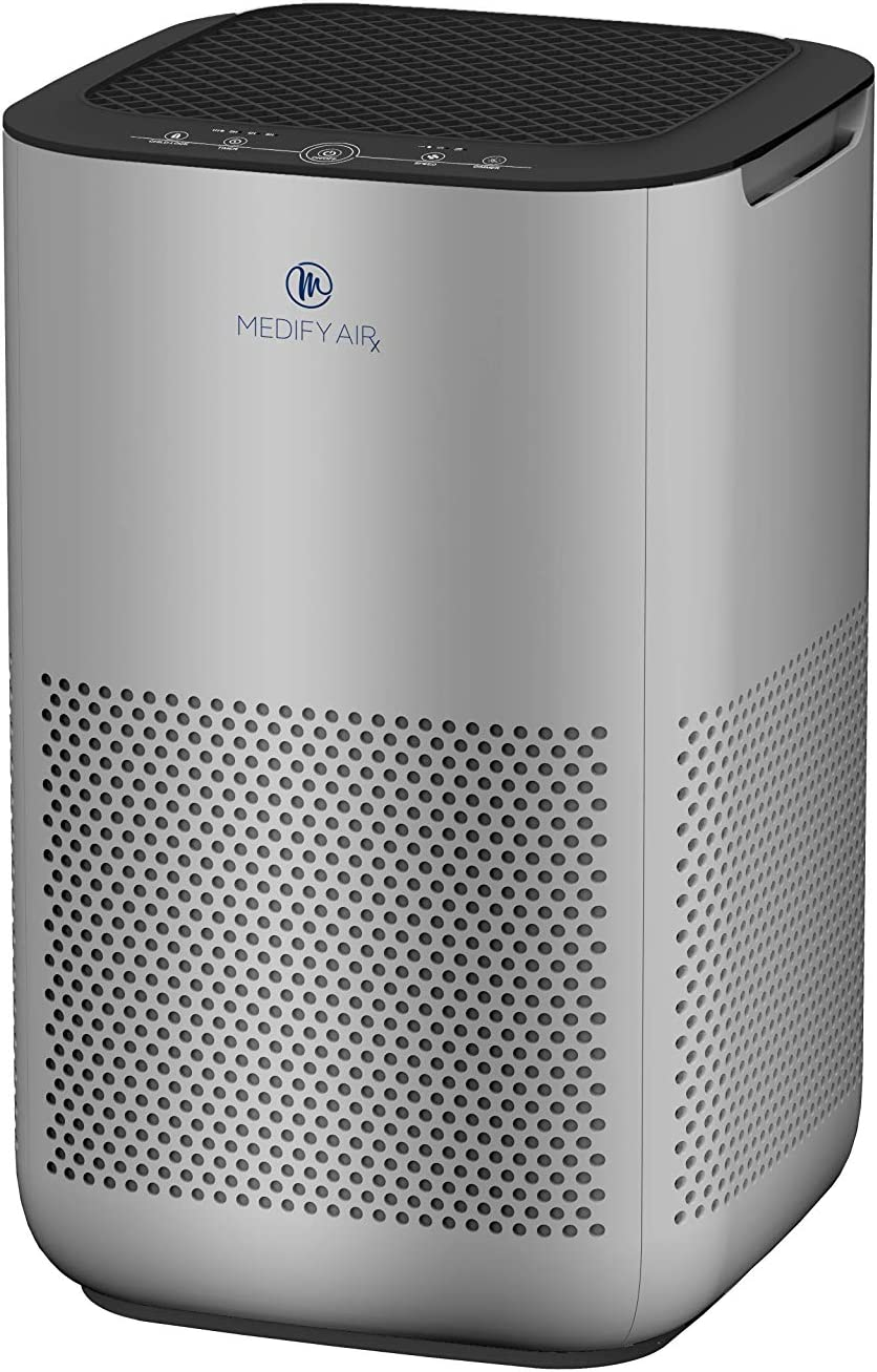 Medify Air MA-15 Air Purifier with H13 HEPA filter - a higher grade of HEPA | NEW MODEL JULY 2020 | '3-in-1' Filters | 99.9% removal in a Modern Design - Silver-1Pack