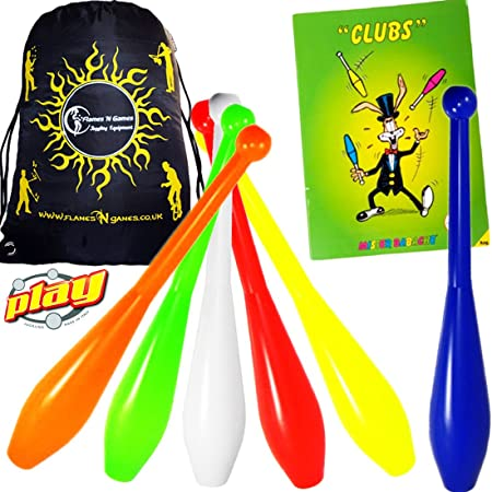 PLAY PRIMA Pro 1 Piece Juggling Clubs Set of 3 (9-Colour-Variations) + Mr Babache CLUBS Booklet + Flames N Games Travel Bag! UV Trainer Club Juggling Set Ideal For Beginners, Schools & Advanced Jugglers! (Yellow/Orange/Green)