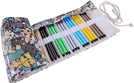 Cat Canvas Bag Holder Wrap Roll Up Stationery Pen Brushes Pencil Case Pooop Nice